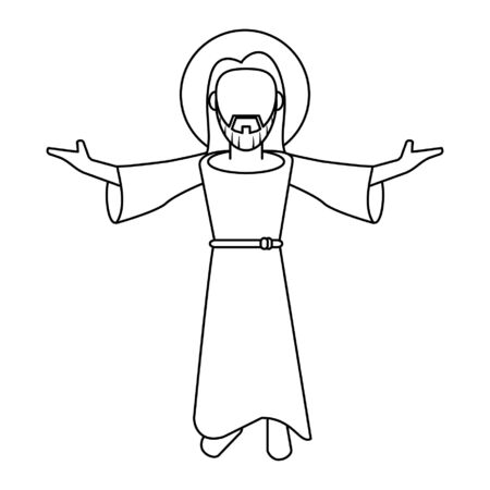 jesus christ man with arms open cartoon vector illustration graphic design 向量圖像