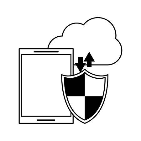 Tecnología para teléfonos inteligentes, herramientas de software, ilustración vectorial de dibujos animados, diseño gráfico en blanco y negro