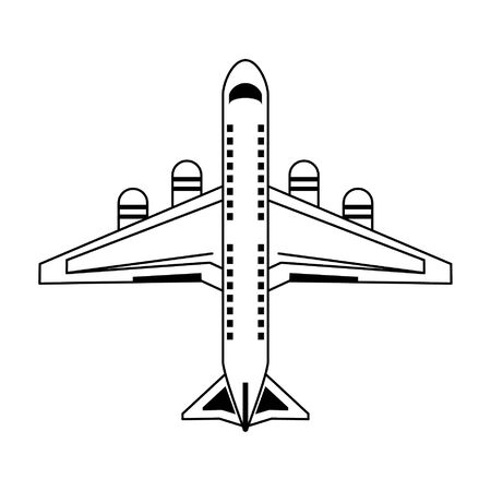 Jet airplane topview symbol vector illustration graphic design
