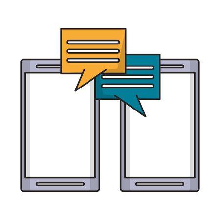 cellphone with speech bubble icon cartoon vector illustration graphic design