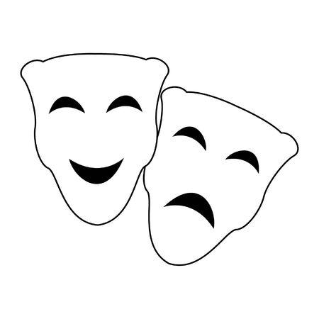 Theater mask sad and happy cartoon vector illustration graphic design