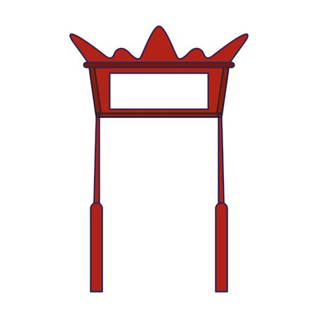red chinese gate icon cartoon vector illustration graphic design