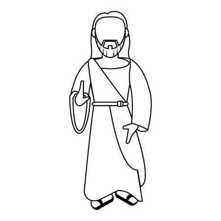 jesus christ man with hand symbol cartoon vector illustration graphic design