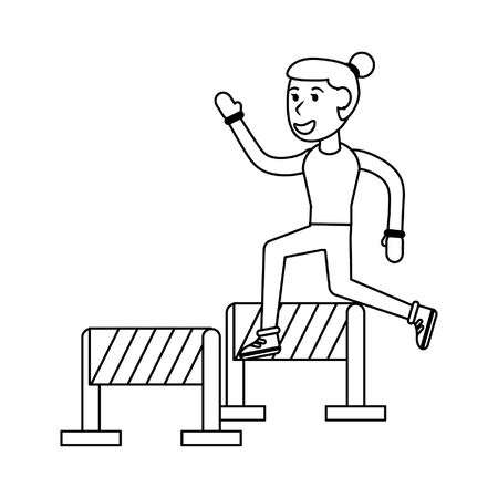Athlete jumping barriers cartoon vector illustration graphic design