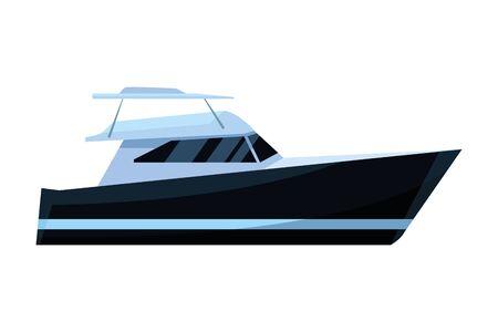 Luxury black yatch fast sea travel leisure exploration trip isolated vector illustration graphic design