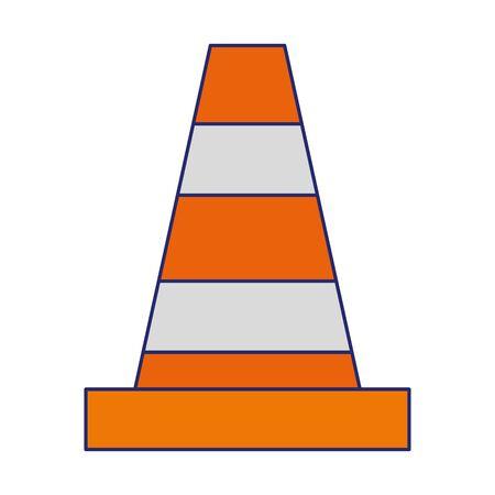 warning cone icon cartoon vector illustration graphic design