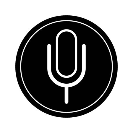 microphone sign icon isolated round icon black and white vector illustration graphic design