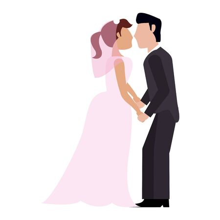 Wedding couple kissing cartoon vector illustration graphic design