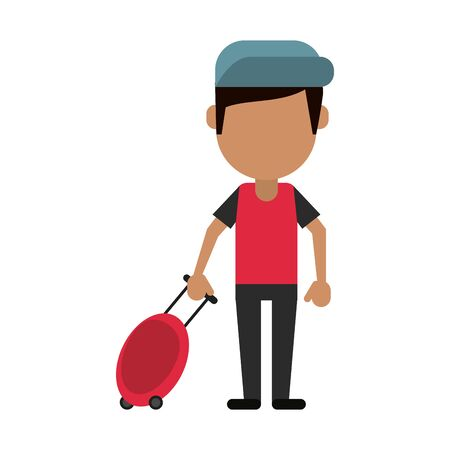 Tourist man with luggage and hat avatar vector illustration graphic design