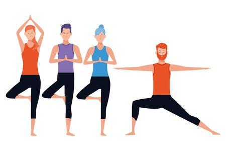people yoga poses avatars cartoon character bun beard vector illustration graphic design Vectores