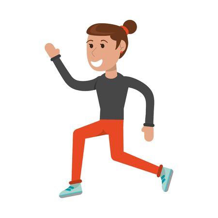 Athlete woman running cartoon isolated vector illustration graphic design