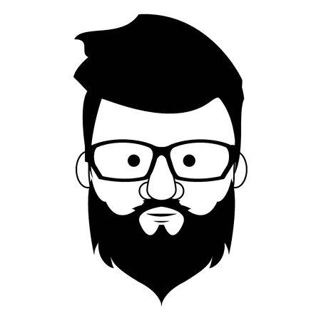 Hipster-Kerlgesicht mit Modebrille und Bart-Cartoon-Vektor-Illustration-Grafik-Design