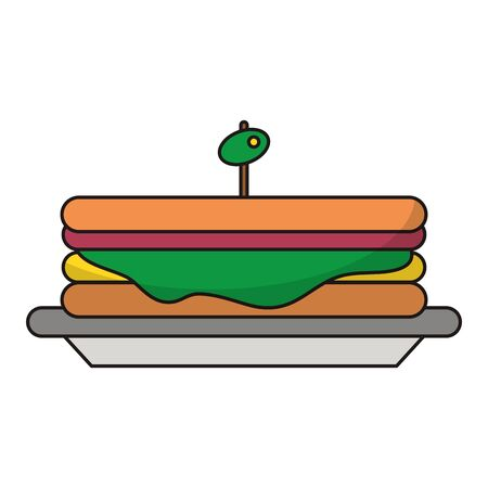 Sandwich with olive on dish symbol vector illustration graphic design