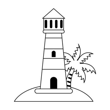 Faro nella progettazione grafica dell'illustrazione di vettore del fumetto della spiaggia Vettoriali