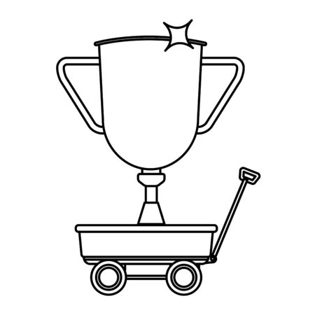 trophy over a wagon icon cartoon isolated black and white vector illustration graphic design Stock Illustratie