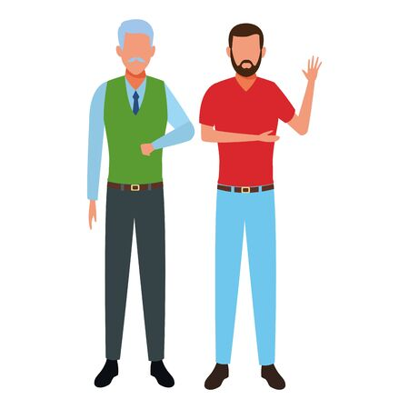 old man and young man avatar cartoon character with beard and moustache vector illustration graphic design vector illustration graphic design