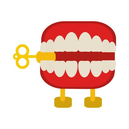 Funny Joke teeth box cartoon isolated Stock Illustratie