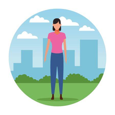 woman avatar cartoon character   at cityscape round icon vector illustration graphic design Foto de archivo - 126054525