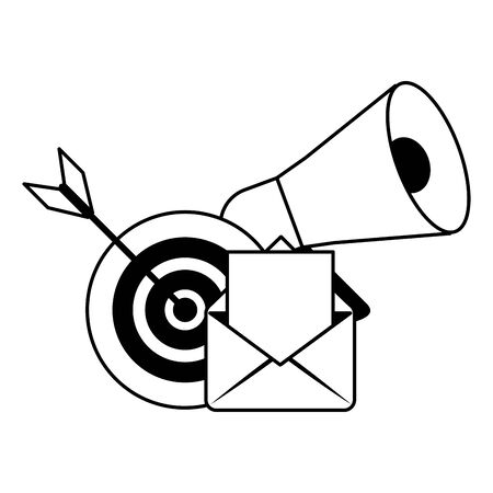 target peripone and envelope icon cartoon vector illustration graphic design black and white