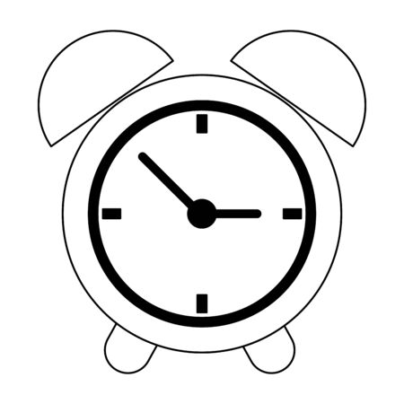Clock alarm symbol cartoon vector illustration graphic design