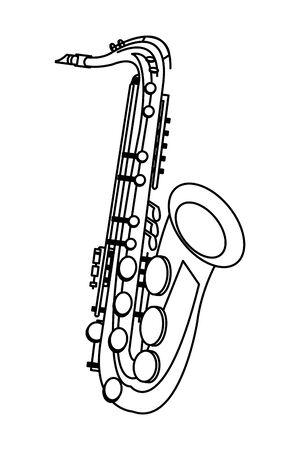 Icona del sassofono cartoon isolato in bianco e nero illustrazione vettoriale graphic design Vettoriali