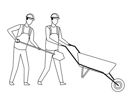 Construction teamwork avatar workers with shovel and pushing wheelbarrow vector illustration graphic design Illustration
