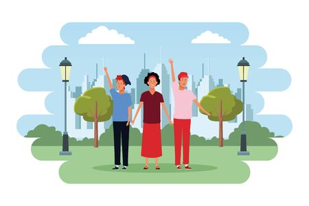 people avatars cartoon characters hand up open arms wearing hat headband  in the city park scenery Illustration