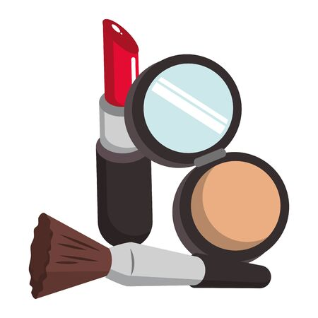 Make up and women fashion beauty powder and brush with lipstick vector illustration graphic design