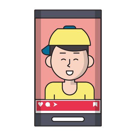 Millennial man selfie on smartphone screen vector illustration graphic design
