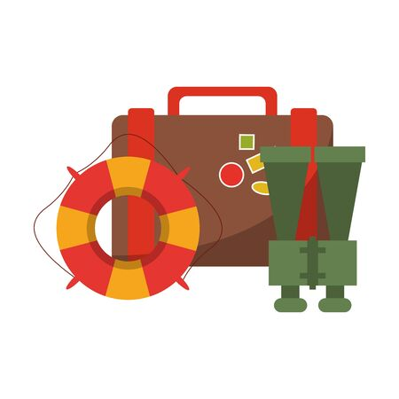 Vacations and travel suitcase with float and binoculars vector illustration graphic design