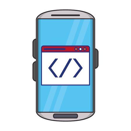Software de codificación del sistema operativo de smartphone con símbolo en diseño gráfico de ilustración de vector de pantalla