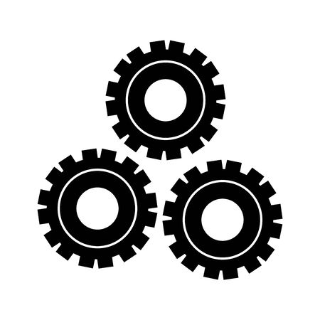 Gears machinery pieces working isolated vector illustration graphic design