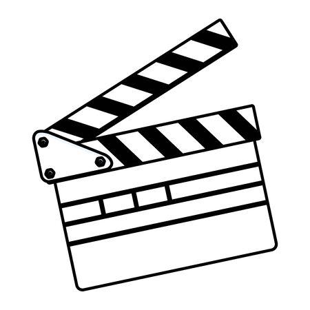 movie clapper board icon isolated black and white vector illustration graphic design
