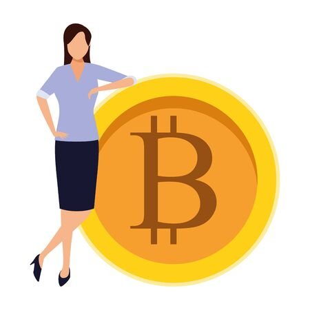 businesswoman with cryptocurrency icon cartoon vector illustration graphic design Illustration