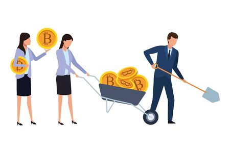 business people holding cryptocurrency bitcoin with wheelbarrow and shovel vector illustration graphic design