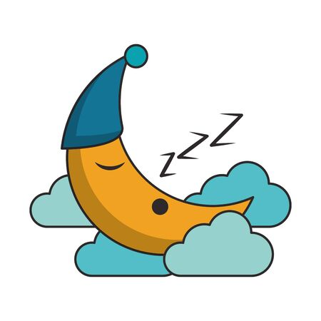 Sleeping and resting moon cartoons vector illustration graphic design Illusztráció
