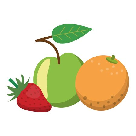 Fruits apple orange and strawberry cartoon vector illustration graphic design Vektoros illusztráció