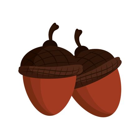 Two nuts almond snack cartoon vector illustration graphic design