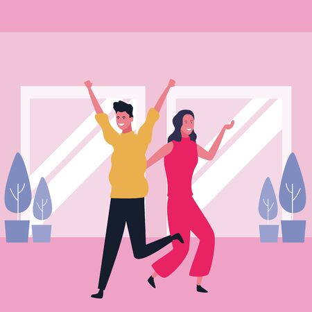 Happy couple having fun and dancing in mall interior scenery vector illustration graphic design Vectores