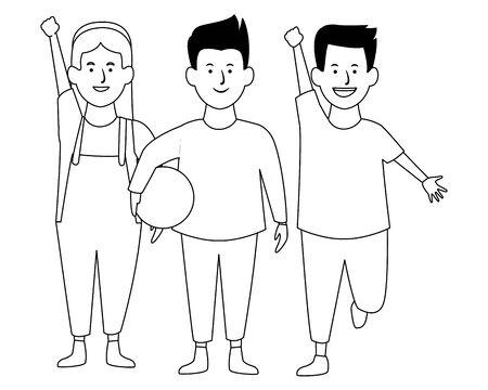 Two kids girls jumping smiling cartoons vector illustration garphic design