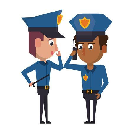 two policemen working afroamerican policeman using a radio communicator the avatar cartoon character vector illustration graphic design