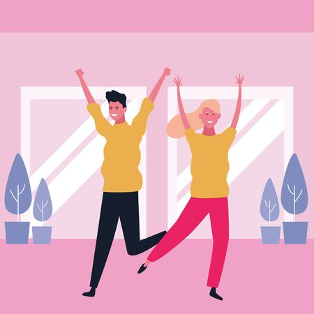 Happy couple having fun and dancing in mall interior scenery vector illustration graphic design Illustration