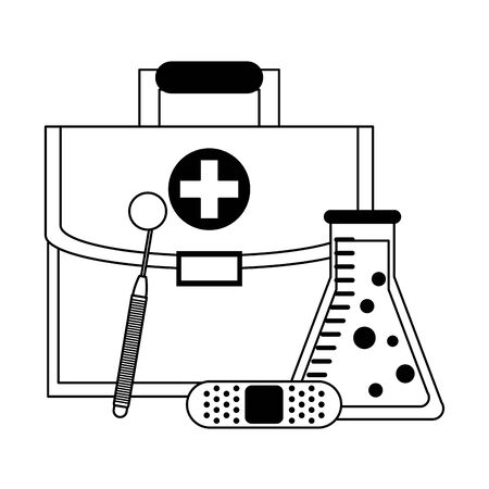 Medical healthcare supplies first aids suitcase flask and bandage with mirror vector illustration graphic design