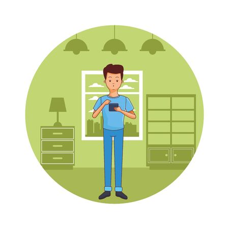 young casual man using smartphone device at furniture house room scene cartoon vector illustration graphic design