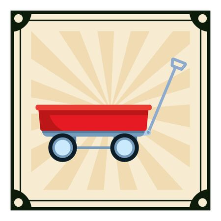 wagon icon cartoon with pop art background