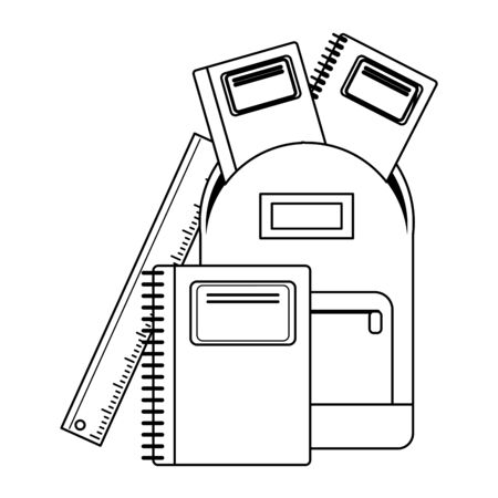 School utensils and supplies backpack and notebooks with ruler Designe