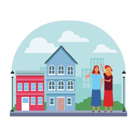 women avatar cartoon character thumb up wearing skirt hat  in the neighborhood scenery vector illustration garphic design