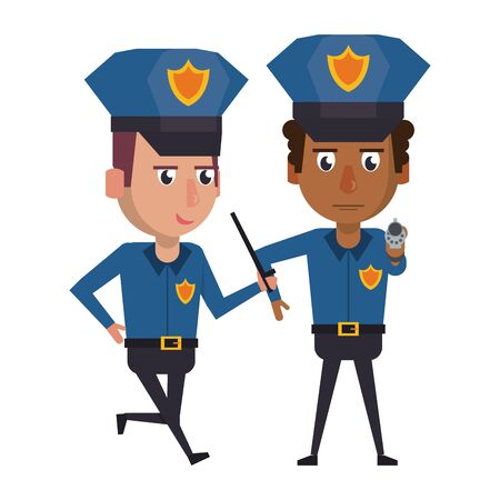 two policemen working afro american policeman pointing with the gun avatar cartoon character vector illustration graphic design