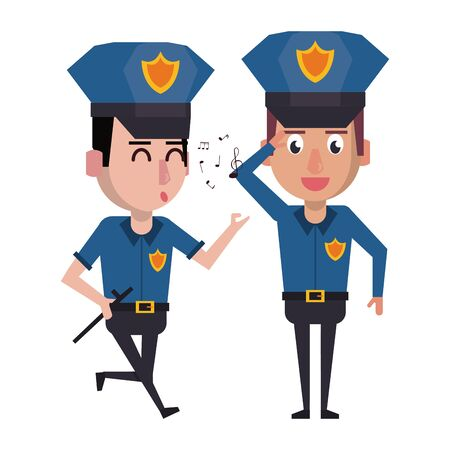 two policemen working policeman whistling avatar cartoon character vector illustration graphic design