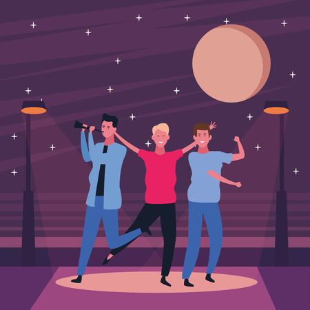 Happy people dancing and having fun on the street at night scenery vector illustration graphic design